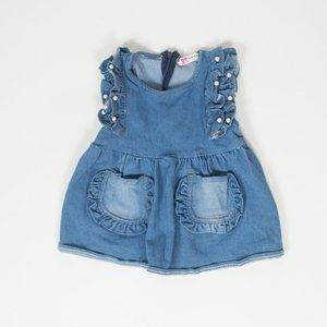 Infant Girl Denim Dress with Pearls 12M